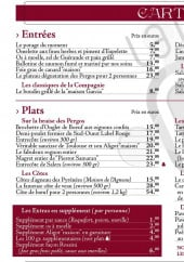 Menu La Pergola - Entrees, plats...