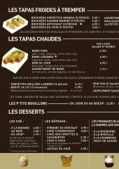 Menu BaTbAt - Les tapas et desserts