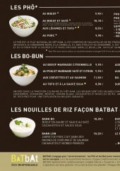 Menu BaTbAt - Les phô, bo-bun et nouilles