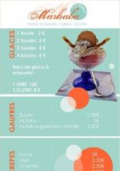 Menu Marhaba - Glaces, gauffres et crepes