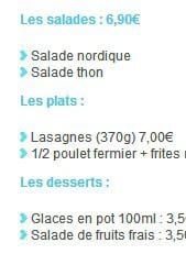 Menu Pizza World - Les salades plats et desserts