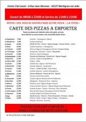 Menu Le Jardin Italien - Pizzas à emporter