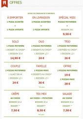 Menu La roma pizza - Les offres