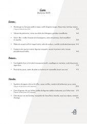 Menu L'Atelier FV - Les entrées, poissons et viandes
