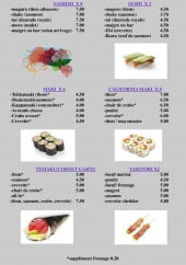 Menu Wok n' Roll Dragon - Les sashimis, les makis, les sushis...