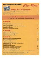Menu Le Mascaret chez Rossi - Les entrées et plats