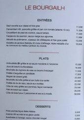 Menu Le Bourgailh - Entrées, plats et desserts