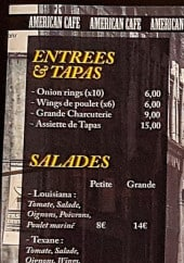 Menu American Café - Les entrées, tapas, salades et pâtes