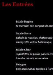 Menu Gasoline Wine & Burger - Les entrées