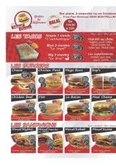 Menu Minut'Burger - Tacos, burgers et sandwiches