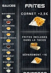 Menu Chez oit what - Sauces, frites, boissons...