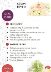 Menu Ateliers Gourmands - Le menu 14.90€ et le menu 16€