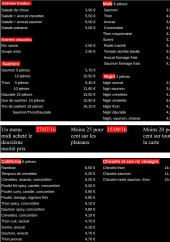 Menu sushi shari - Entrées et menus