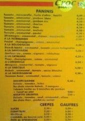 Menu Croc Le Taïna Snack - Les paninis, les crêpes et gouffres