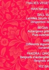 Menu Le palais des roses - Le Thali végétarien