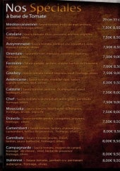 Menu Aroma Pizza - Les pizzas spéciales: orientale, catalane,...