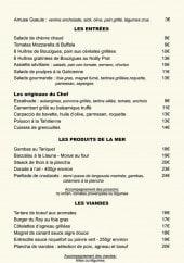 Menu Béziers Plage - Entrées, produits de la mer, viandes,....