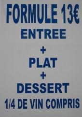 Menu Le Manteau Bleu - La formule à 13€