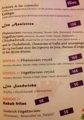 Menu Le Phénicien - Les assiettes, sandwichs et kebab