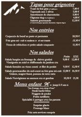 Menu Le chalet chamoniard - Les tapas, entrées...