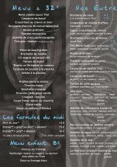 Menu Le Zèbre Bleu - Les menus, formules et entrées