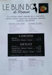 Menu Le bun Bo de maman - Viandes, boissons, desserts,....