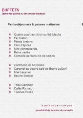 Menu Le Coq-Gadby - Les buffets, les dinners et dejeuners