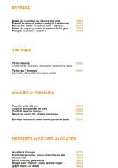 Menu Restaurant du Parc - Les entrées, tartines, plats et desserts