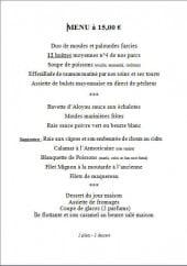 Menu L' huitrière - Le menu à 15€