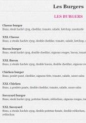 Menu La Grignotte - Les burgers