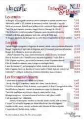 Menu La Minoterie - Entrées, plats, fromages,.....