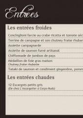 Menu Chez Edgard - Les entrées