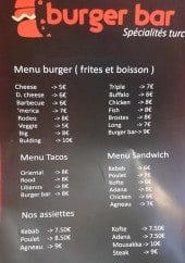 Menu Burger Bar - Menu burger