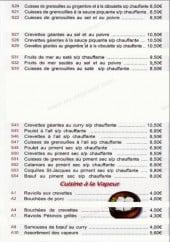 Menu Le Palace de Tours - grenouille, fruit de mer cuisine a la vapeur et potage