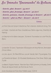 Menu Restaurant de la Liodière - Les formules gourmandes du restaurant