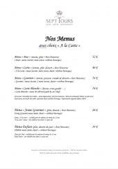 Menu Le Château Golf des Sept Tours - Les menus