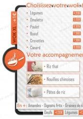 Menu Fire Wok - Les woks, les légumes, les suppléments et sauces