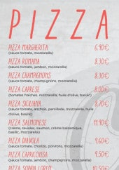 Menu La Chandelle - Les pizzas