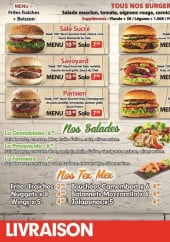 Menu Yes Burger - Les burgers, salades, tex mex...
