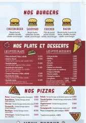 Burgers, pizzas, menu enfant