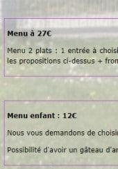Menu Auberge Aux Quatre Vents - Menu à 27€