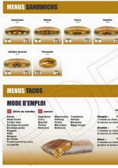 Menu California Food - Menus sandwiches et tacos