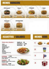 Menu California Food - Menus burgers, assiettes, salades,...