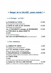 Menu La Bel Excuse - Salades