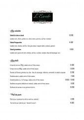Menu L'escale - Salades, plats, formules