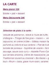 Menu Casino de Lons le Saunier - Les menus et plats