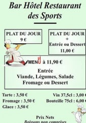 Menu Hotel Bar des sport - Garino - Les formules