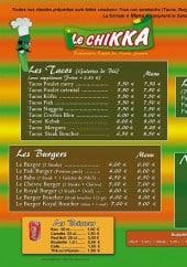 Menu Le Chikka - Les tacos, les burgers,....