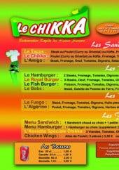 Menu Le Chikka - Les sandwichs chauds, les burgers,....