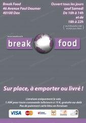 Menu Break Food - Carte et menu Break food Dax